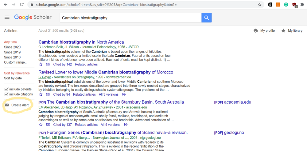 Поиск научных публикаций в Интернете. Часть 3. Настройка оповещений